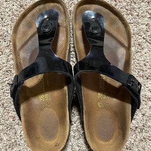 Glossy Black Birkenstock Sandals